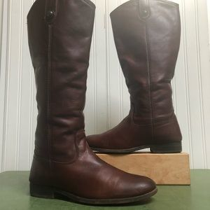 Frye Melissa Button Tall Riding Boots in Brown